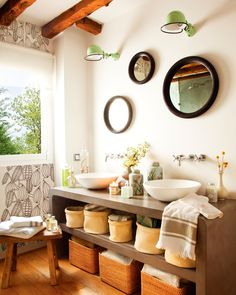 One Spanish family created a real country oasis right in the center of Madrid. Beams on the ceiling, wooden aged furniture, warm colors and greenery ✌Pufikhomes - source of home inspiration Bathroom Styling, Contemporary Bathrooms, Cosy Bathroom, Cozy House, Kitchen And Bath, Cottage Bathroom, Round Mirror Bathroom, Apartment Bathroom, Upcycled Home Decor