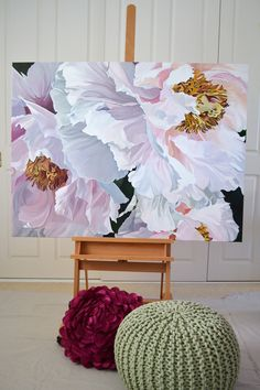 CHINOISERIE  $3,950    120 x 90cm.  Deep Edge Canvas (3.5cm) Acrylics with Oil Glaze. Pale pink Japanese Tree Peonies.