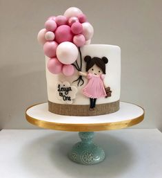 Girl and Balloon Cake – Etoile Bakery ideas para mujeres 1st Birthday Cake For Girls, Pink Birthday Cakes, Beautiful Birthday Cakes, Baby Birthday Cakes, Tortas Deli, Bolo Rapunzel, Cake Designs For Girl, Funny Wedding Cake Toppers, Baby Girl Cakes