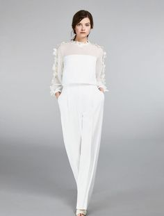 Explore the Wedding Dresses in the Max Mara Bridal Collection Choose Italian Fashion, Choose the Perfect Dress for your Big Day. Get the Look! Lovely Dresses, Vintage Dresses, Wedding Pantsuit, Max Mara Bridal, Fairy Wedding Dress, Bridal Jumpsuit, Alternative Wedding Dresses, Offbeat Bride, Carolina Herrera