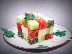 Rubik's cube nibbles and treats | DIY fun and creative food presentation ideas #party #food #veggie