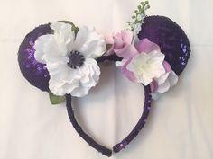 Purple Flower Sequin Mickey Mouse Ears