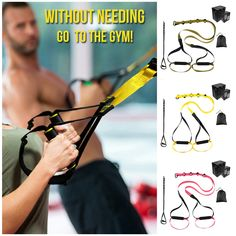 The Total Resistance Bands provide everything you need to build strength, increase your flexibility, spot-train, and fit in a healthy workout anytime you want from the comfort of your home! All Body Workout, Band Workout, Gym Workout Tips, Fitness Workout For Women, No Equipment Workout, At Home Workouts, Suspension Workout, Suspension Trainer, Muscles In Your Body