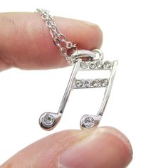 Beamed Quaver Note Shaped Rhinestone Pendant Necklace in Silver | Music Themed Jewelry