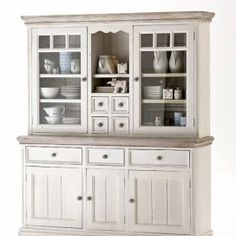 Buffet cabinet Aragona painted in white - White Kitchen Remodel Buffet Cabinet, China Cabinet, China Hutch Makeover, Practical Magic House, Muebles Shabby Chic, Styling A Buffet, White Kitchen Cabinets, Big Houses, Dining Room Design