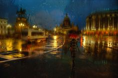 Eduard Gordeev's cityscape scenes distinctly capture the moody ambiance of dark skies and rain-soaked streets. The St. Petersburg-based photographer often features widely recognized Russian landmarks viewed through windowpanes as raindrops streak down the glass. As the rain smears colors and diffuses light, the photos nearly take on the quality of impressionist oil paintings.       Eduard Gordeev's website via [The Khool, CUDED]