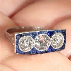 Vintage French Art Deco Diamond and Sapphire Ring c.1920 from vsterling on Ruby Lane
