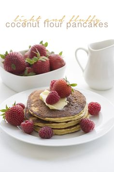 The best low carb coconut flour pancakes are now even better! Lighter, fluffier, with the same great taste. A delicious grain-free keto breakfast recipe. How-to video included... I am not sure I have any business calling anything made with coconut flour 'light and fluffy'.  Really, have you ever worked with the stuff?  If you are used to wheat flour, you will find coconut flour to be very odd stuff indeed.  You've never seen the like, I can assure you.  Oh sure, it looks like flour, all…