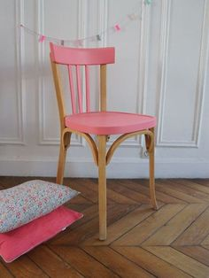 furniture, Cute Pink Accent On Simpel Wood Chair And Small Pillow On Wide Brown Parquet Beside Great Pure White Wall For Painted Furniture Ideas - Painted Furniture Ideas for DIY Furniture Painting Refurbished Furniture, Upcycled Furniture, Home Furniture, Furniture Design, Furniture Ideas, Colorful Chairs, Colorful Furniture, Kids Painted Furniture, Painting Furniture