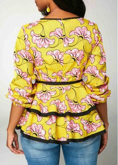 Split Neck Belted Layered Long Sleeve Blouse - Trend Way Dress Best African Dresses, African Fashion Ankara, Latest African Fashion Dresses, African Print Dresses, African Print Fashion, Africa Fashion, African Attire, African Blouses, African Tops