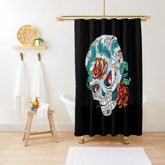 Promote | Redbubble Sugar Skull Design, Curtains, Shower, Studio, Prints, Rain Shower Heads, Blinds, Showers, Printed