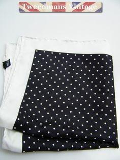 Hand rolled silk pocket square black white polka dot NEW   Tweedmans Vintage