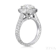 New Antique Style Diamond Engagement Ring with Square Halo u Eternity Band