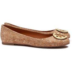 Tory Burch Reva Cork Ballet Flats ($235) ❤ liked on Polyvore featuring shoes, flats, ballet shoes flats, ballerina pumps, ballet flat shoes, skimmer flats and ballet shoes