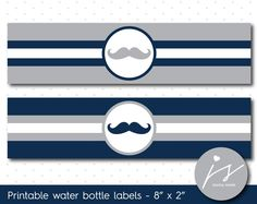 Grey and navy blue mustache water bottle labels, WA-112