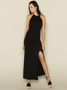 Shop Maxi Dresses - Black Sheath Solid Sexy Halter Sexy Dress online. Discover unique designers fashion at JustFashionNow.com.