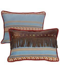 Ruidosa Collection Blue and Brown Faux Leather Fringed Pillow