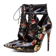 Material:PU Heel Height:12cm Embellishment:HollowPrint
