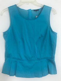 3693822b618 Ann Taylor Womens Top NWT Sz 8P Blue Sleeveless Peplum Cotton Blend Career  1041