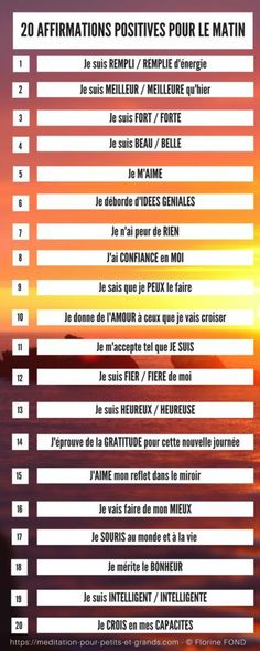 20 affirmations positives CONFIANCE EN SOI (version imprimable)