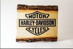 Harley Davidson Square Wood Art