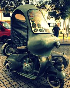 Just A Car Guy: A Vespa with Steib sidecar, that someone went a bit far with Scooter Tuning, Scooter Bike, Motor Scooters, Vespa Scooters, Cool Motorcycles, Vintage Motorcycles, Vespa 150 Sprint, Bmw C1, Vespa Lambretta