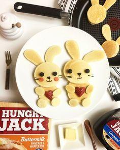 Food art. Bunnies made with #HungryJack pancake and #Tfal non-stick pan. #pancake #pancakeart #foodart #cutechichai #valentine #tfal60thanniversary #stackedandsticky #hungryjack