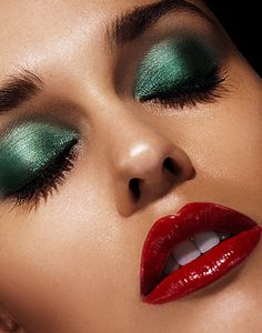 Don't be afraid to play with colors! Going with a green eyeshadow can really make your eyes pop, and pairing it with a red lip makes it a holiday favorite!