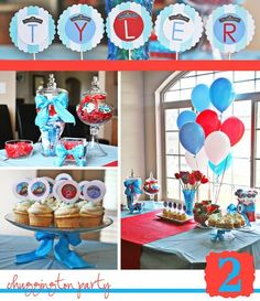 blue,red and white birthday party for little boy | Chuggington Birthday Party
