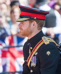 Prince Henry looking dapper in his uniform. Queen Elizabeth's 91st Birthday.