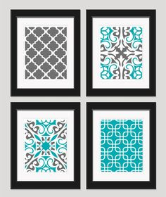 Grey Turquoise Art Modern Art Wall Art Set of 4  by inkandnectar, $45.00