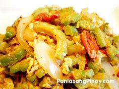 Ginisang Ampalaya is translated as Sauteed Bitter Melon. This Filipino vegetable recipe is one of the healthiest recipes around. I'm not a fan but my parents are. Filipino Vegetable Recipes, Filipino Recipes, Veggie Recipes, Asian Recipes, Cooking Recipes, Healthy Recipes, Ethnic Recipes, Delicious Recipes, Yummy Food