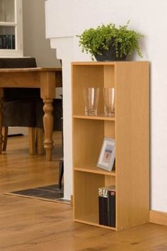 3 Tier Beech Finish Wooden Bookcase Three Shelf Storage Unit x 30 x Wooden Bookcase, Bookcase Storage, Tall Cabinet Storage, Living Room Bookcase, Thing 1, Shelf, House Styles, Interior, Bookcases