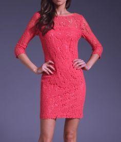 Trina Turk NEW Dress Crochet Tunic Sheath Coral Pink  8 #TrinaTurk #Sheath