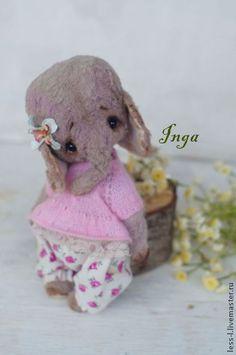 Inga - слоник,прованс,тедди,слоник тедди,подарок,вискоза,опилочки,краски масляные