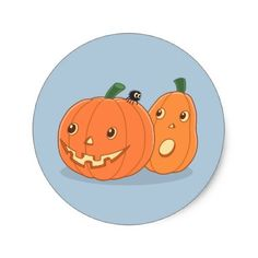 #Halloween Pumpkins on Grey Classic Round Sticker - #Halloween happy halloween #festival #party #holiday