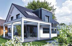 Model house prefab house model house Fellbach (generation by WeberHaus GmbH & Co. Prefabricated Houses, Prefab Homes, Timber Roof, Gable Roof, Gable House, Wood Cladding, Model Homes, My Dream Home, Backyard
