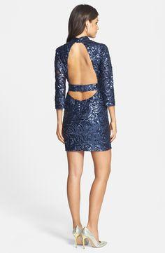 a. drea Sequin Open Back Body-Con Dress