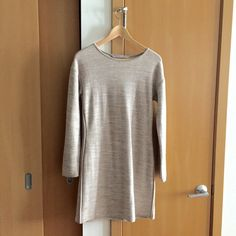 Athleta sweater dress Long sleeves. Cotton, polyester blend. Warm. Heathered beige. Crew neck. Size small. Machine wash cold. Athleta Dresses Long Sleeve