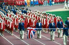 Team GB carry the Union Jack around the Olympic stadium during the opening ceremony of the 1976 Montreal Olympics, 1976.
