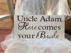 Wedding sign Here Comes your Bride by WellNestedDesign on Etsy, $27.25
