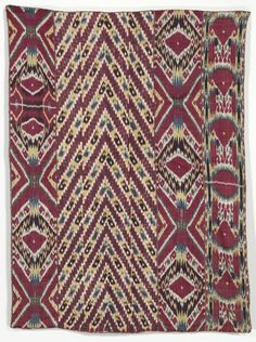 Silk Ikat Wall Hanging (#333), third quarter of the 1800s Uzbekistan, Bukhara, third quarter of the 19th century warp ikat, warp-faced plain weave; silk warp; cotton weft; 5 panels./ lining: printed cotton, plain weave; 2 panels