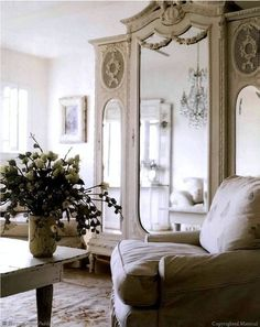 Using a grand scale antique armoire in an unexpected room or small space---the mirrored doors reflect beauty & light creating the feeling of more space while the piece adds plenty of storage.