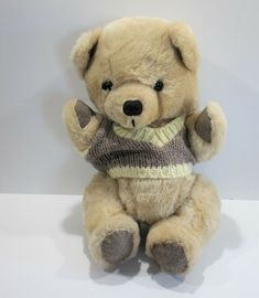 Vintage Bear Brown Jointed Knit Sweater Taiwan #Unbranded Taiwan, Plush, Teddy Bear, Knitting, Brown, Sweaters, Animals, Ebay, Vintage