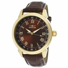 Invicta Men's 13669 Specialty Brown Dial Brown Leather Watch Invicta. $64.00. Swiss quartz movement. Gold tone second hand. Flame-fusion crystal; 18k gold ion-plated stainless steel case; brown leather strap with reptile pattern. Brown dial with gold tone hands and roman numerals; luminous. Water-resistant to 100 M (330 feet)