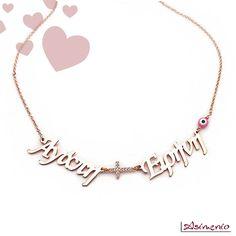 Κολιέ με 2 ονόματα, σταυρό και ματάκι, από Ασήμι 925 ροζ επιχρυσωμένο! #κολιε #ονοματα #αγαπη #ειρηνη #σταυρος #κοσμηματα #κρεμαστα #θεσσαλονικη #agapi #eirini #necklace #gifts Diamond, Silver, Jewelry, Jewlery, Money, Bijoux, Schmuck, Diamonds, Jewerly