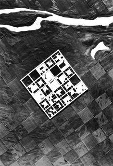 Kisho Kurokawa, Agricultural Village, Japan, 1960 (via polychroniadis) Collage Architecture, Plans Architecture, Architecture Drawings, Architecture Design, Kisho Kurokawa, Arch Model, Urban Fabric, Site Plans, Master Plan