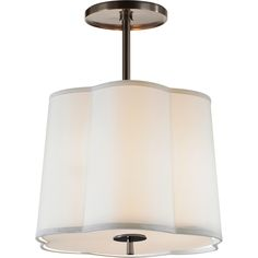 Visual Comfort Lighting BBL5016BZ-S Barbara Barry Simple Scallop Pendant in Bronze with Silk Shade