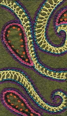 Crested Chain Stitch Sampler (still in Progress!) by cj33, via Flickr