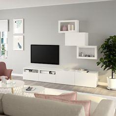 BESTÅ white, Lappviken white clear glass, TV storage combination/glass doors, 240x42x190 cm. Learn more! - IKEA